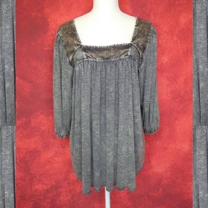 NWOT Gimmicks Distressed Grey Babydoll Top Small